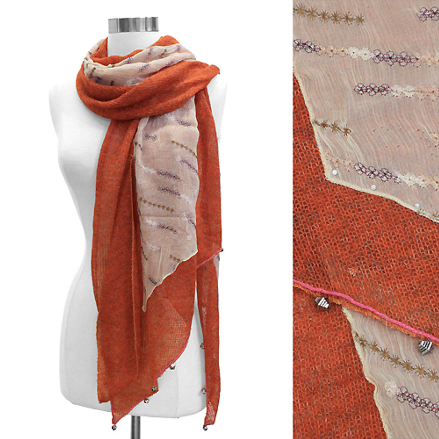 Double Layered Handmade Crafted Fashion Scarf Orange