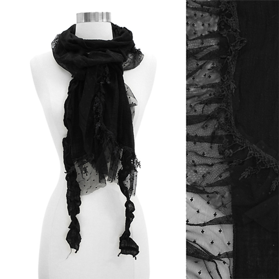 Sheer Lace Frilled Edged Soft Fashion Scarf Black