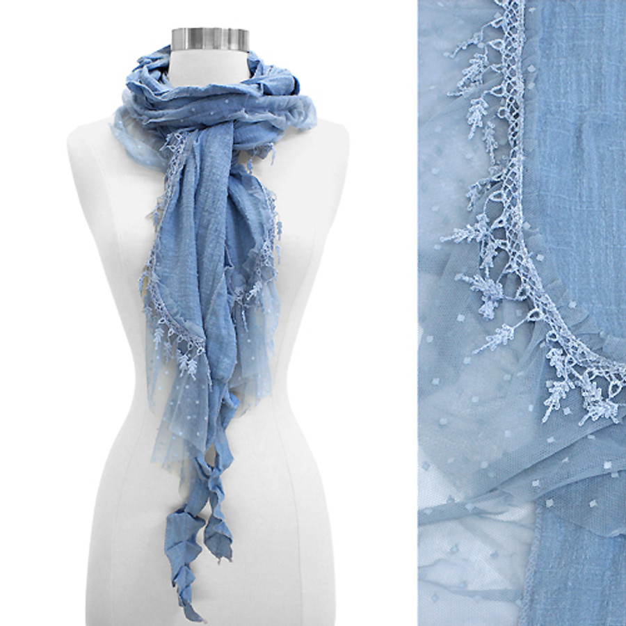 Sheer Lace Frilled Edged Soft Fashion Scarf Blue