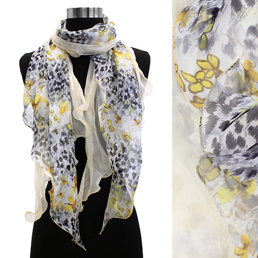 Duo Layered Floral Leopard Animal Chiffon Scarf Yellow