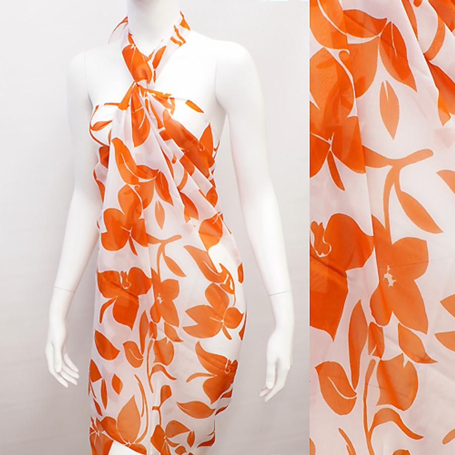 Beach Sarong Pareo Wrap Tropical Flower Orange White