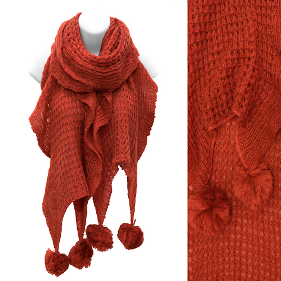 Soft Knit Ruffle Fashion Cold Weather Scarf with Pompoms Rust Red
