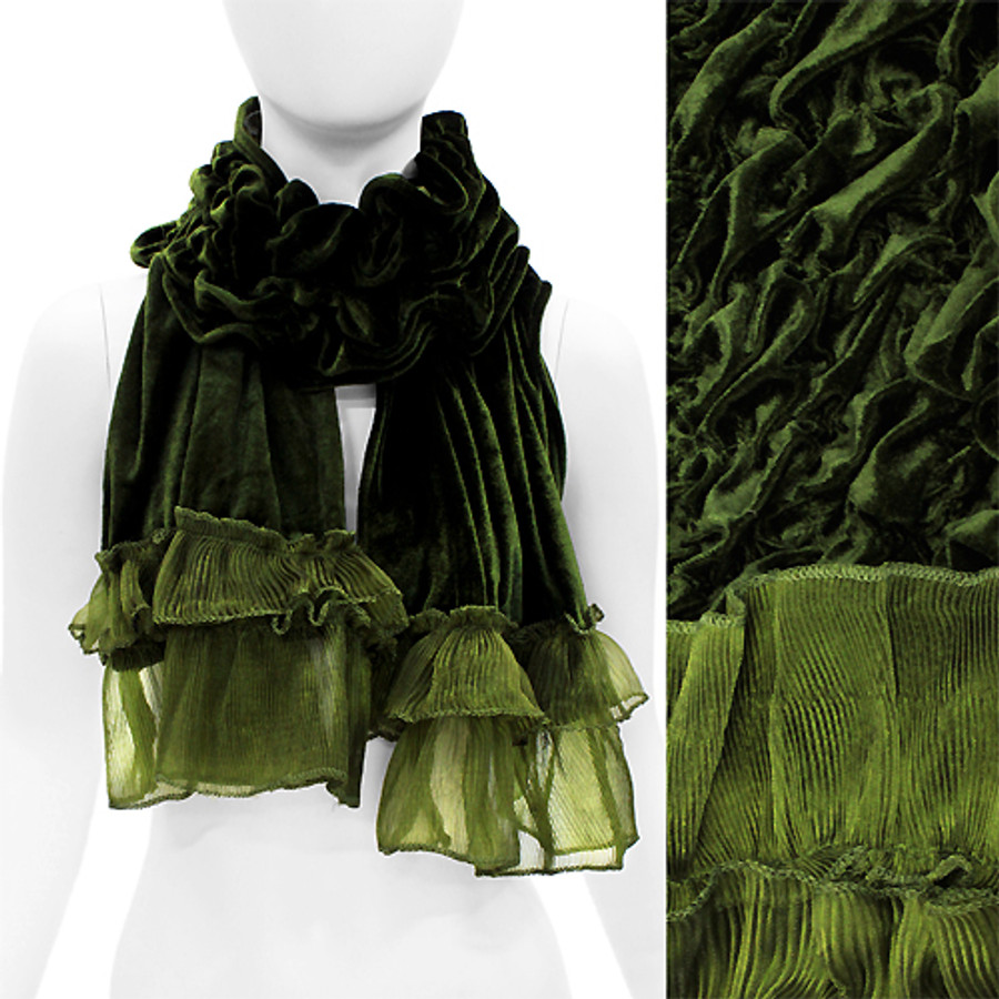 Silk Feel Velvet Frilled Edge Soft Luxurious Ruffle Fashion Scarf Green
