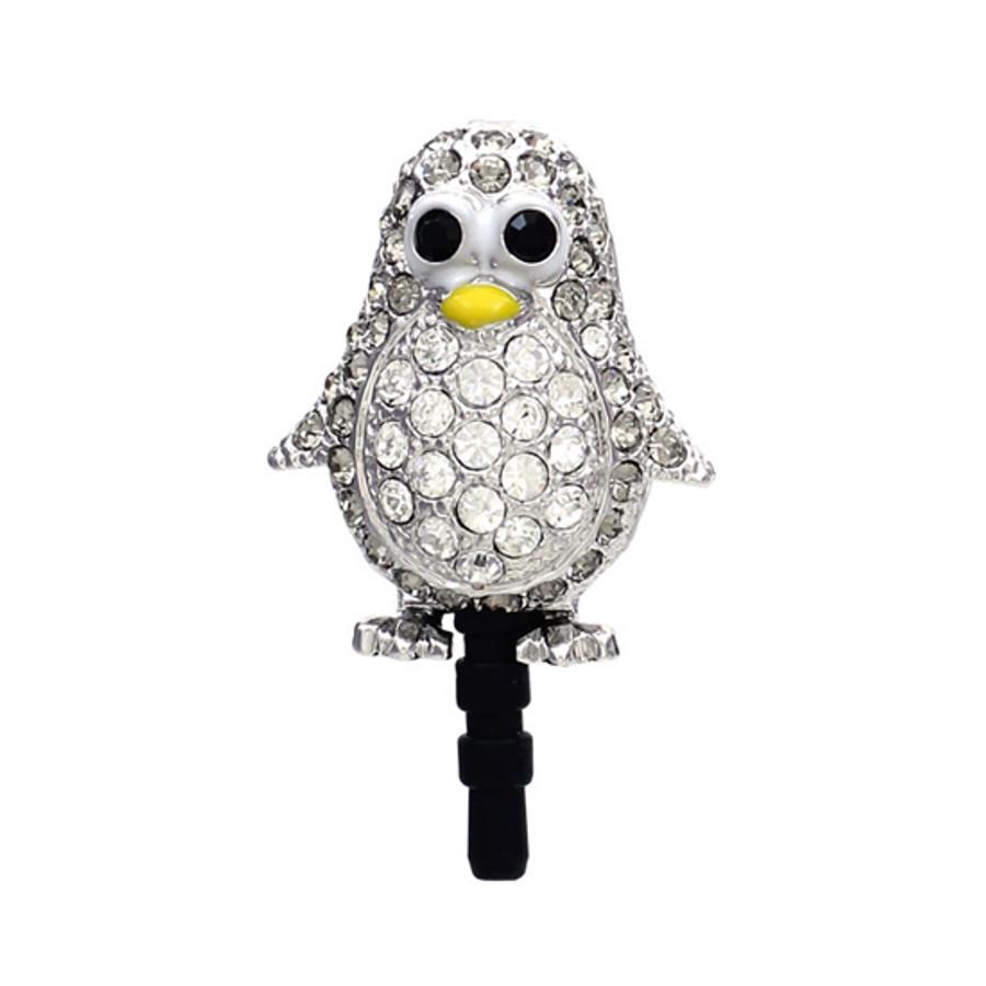Earphone Dustproof Plug Stopper Phone Ear Cap Crystal Rhinestone Penguin Gray