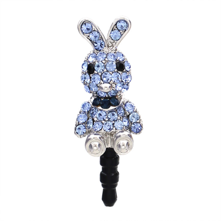 Earphone Dustproof Plug Stopper Phone Ear Cap Crystal Rhinestone Rabbit Blue