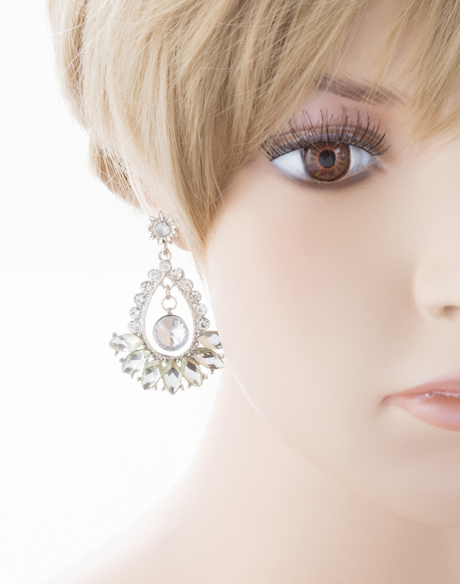 Bridal Wedding Jewelry Crystal Navette Dangle Earrings