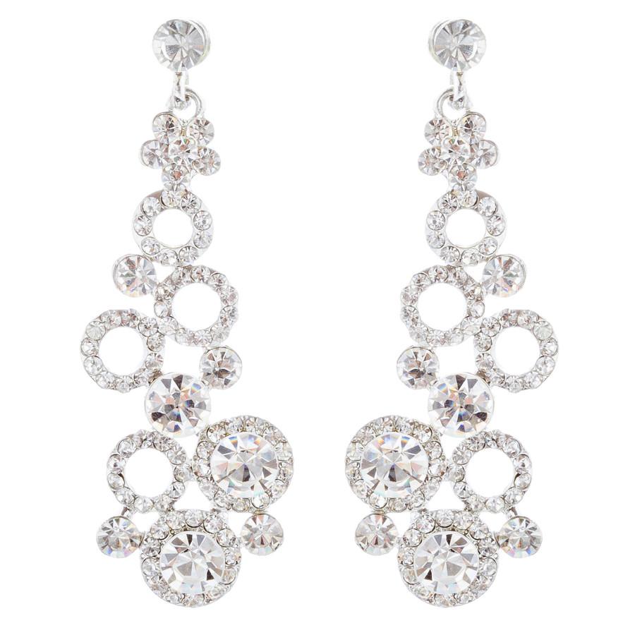 Bridal Wedding Jewelry Crystal Rhinestone Dot Linked Dangle Drop Earrings Silver