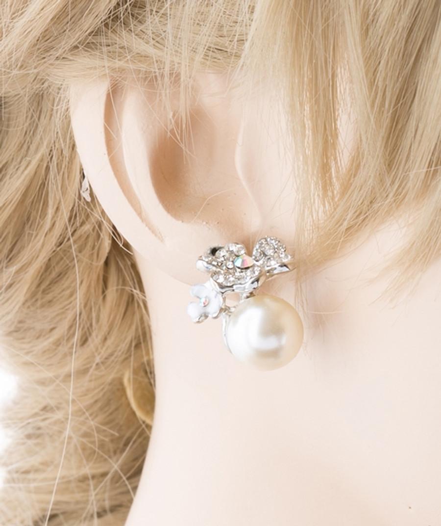 Bridal Wedding Jewelry Crystal Rhinestone Pearl Floral Stud Earring Silver Ivory