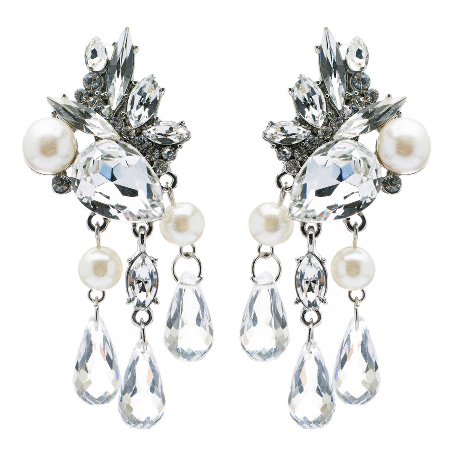 Bridal Wedding Jewelry Crystal Rhinestone Pearl Stunning Chic Dangle Earrings