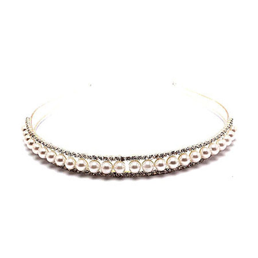 Bridal Wedding Jewelry Crystal Rhinestone Pearl Single Row Hair Headband Tiara