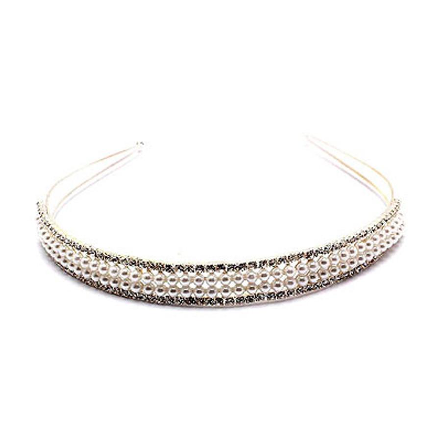 Bridal Wedding Jewelry Crystal Rhinestone Pearl Double Rows Hair Headband Tiara