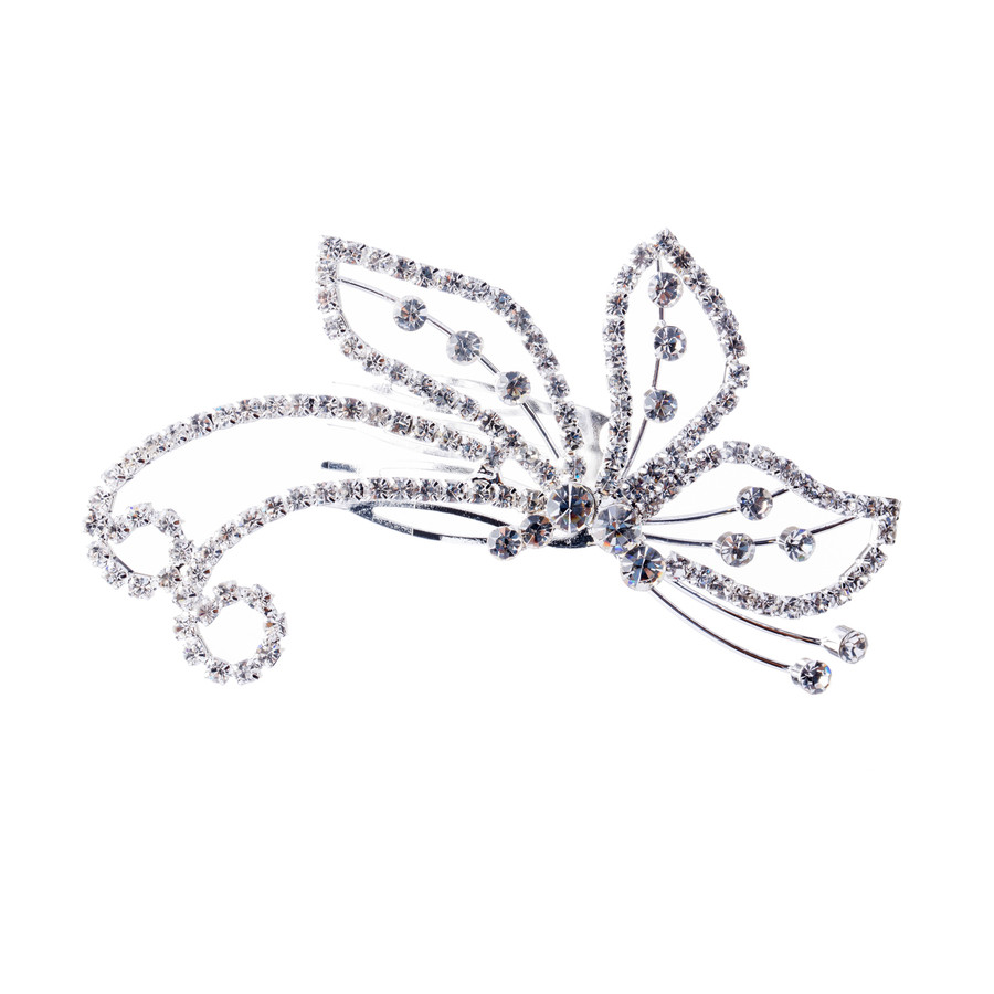 Bridal Wedding Jewelry Crystal Rhinestone Beautiful Side Butterfly Hair Comb Pin