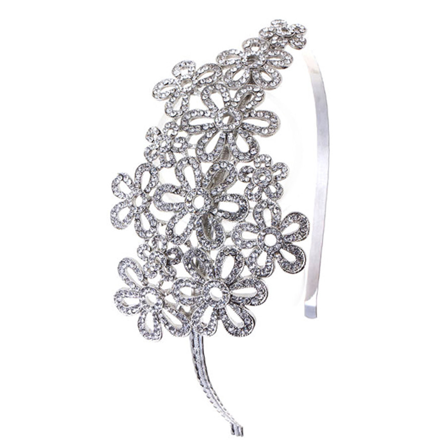 Bridal Wedding Jewelry Hair Headband Tiara Crystal Rhinestones Flower Cluster
