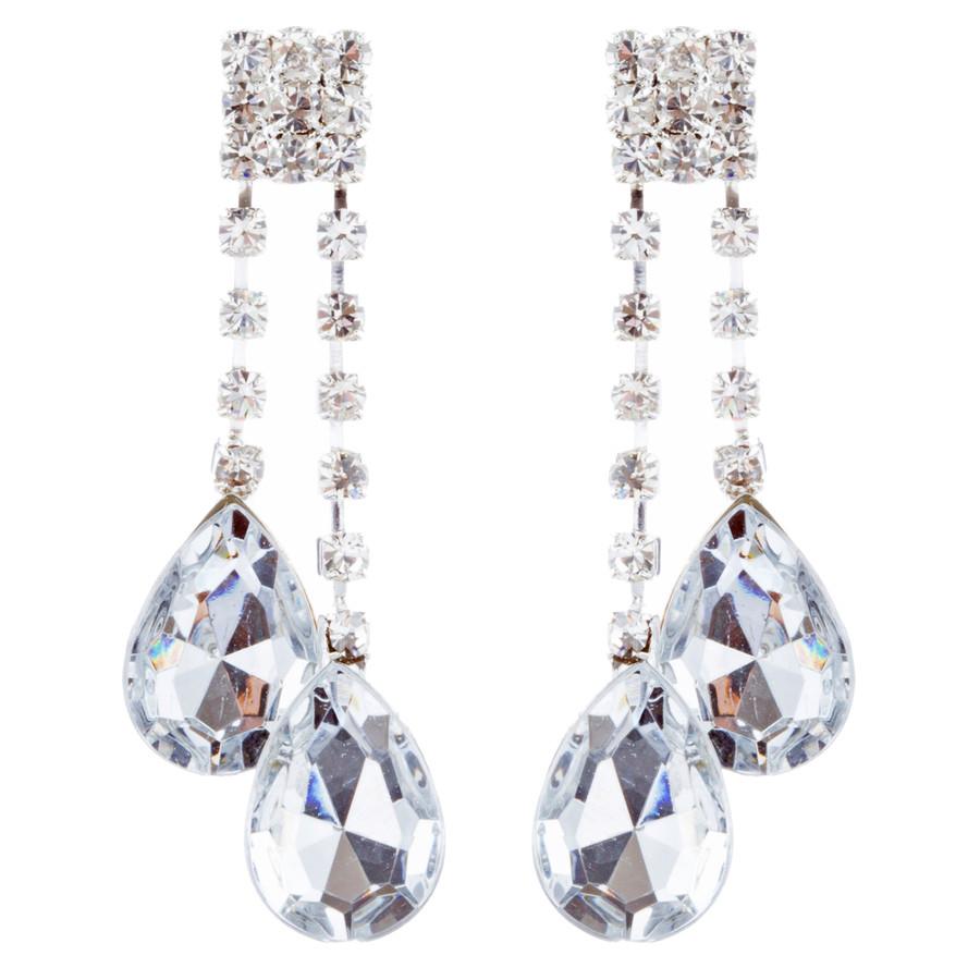 Bridal Wedding Jewelry Set Crystal Rhinestone Teardrop Dangles Necklace Silver