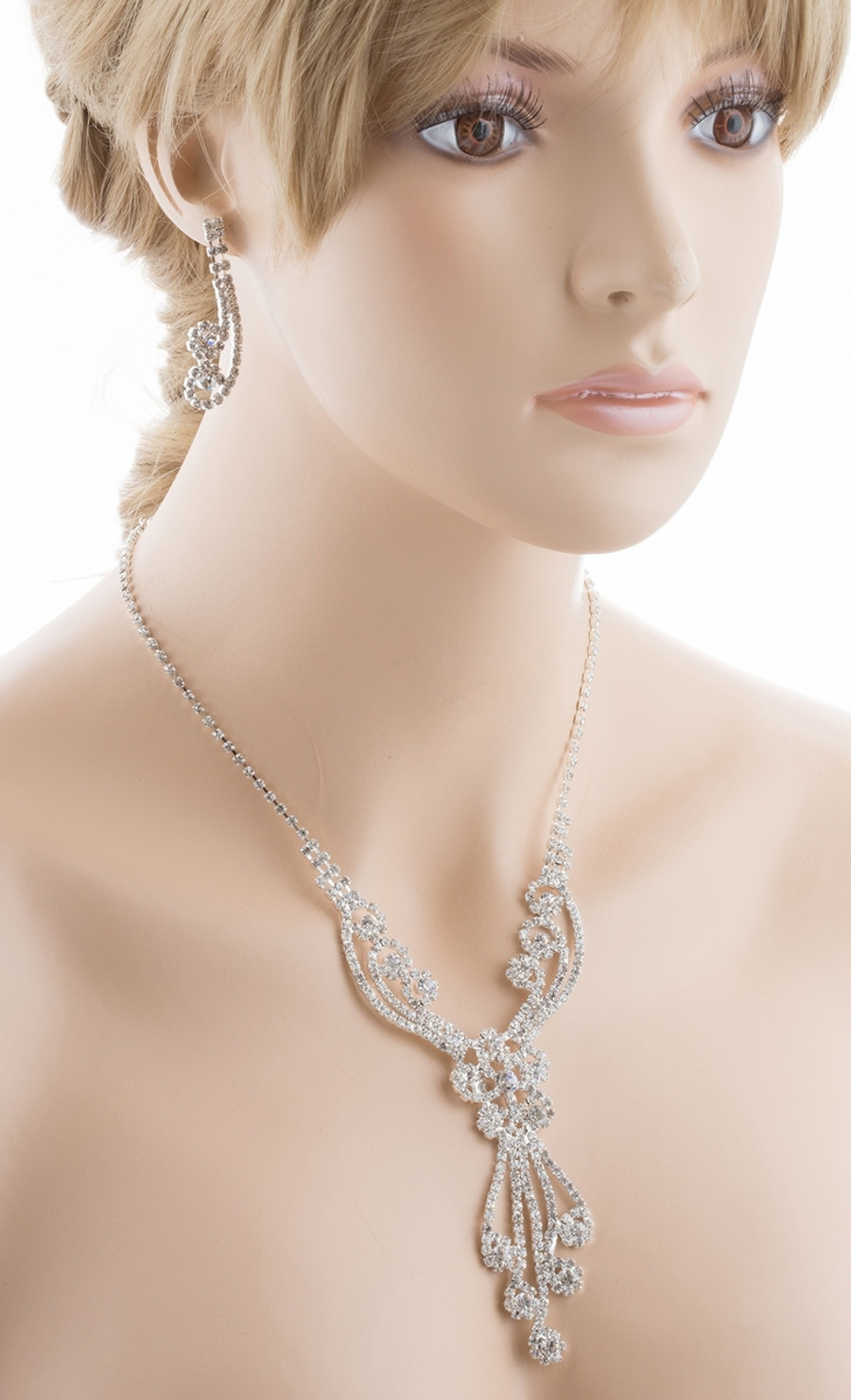 Bridal Wedding Jewelry Set Crystal Rhinestones Gorgeous Dazzle Design Necklace