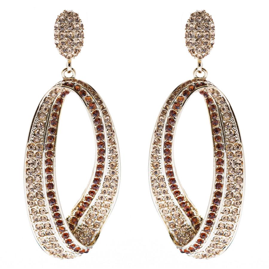 Fashion Stunning Crystal Open Hoop Drop Earrings Brown
