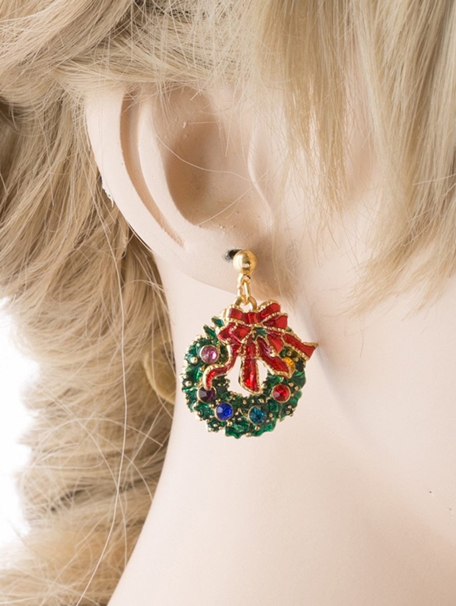 Christmas Jewelry Green Wreath Red Ribbon Gold Tone Crystal Charm Earring