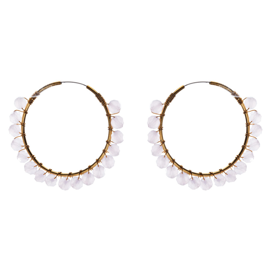 Crystal Wired Handmade Beautiful Fashion Dangle Hoop Earrings Gold Pink