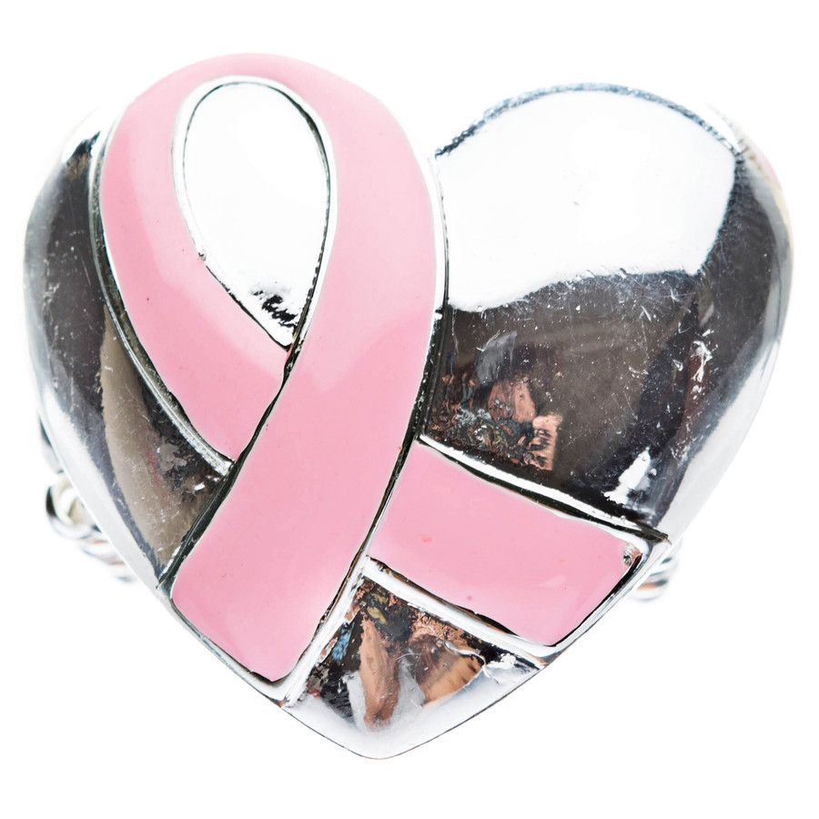 Pink Ribbon Breast Cancer Awareness Jewelry Ribbon Heart Enamel Stretch Ring