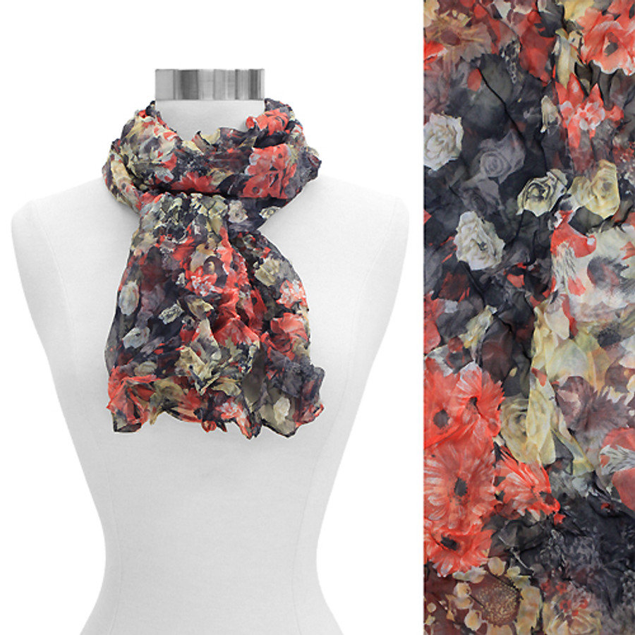 Scrunched Crinkled Floral Chiffon Light Scarf Red