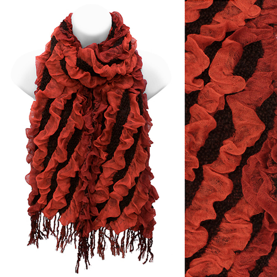Two Tone Diagonal Pattern Design Popcorn Fashion Scarf Rust Red Black