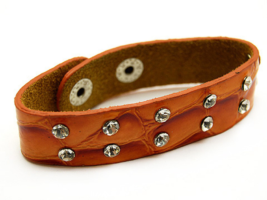 Crystal Studs Faux Alligator Leather Wristband Cuff Bracelet Snap Closure Orange