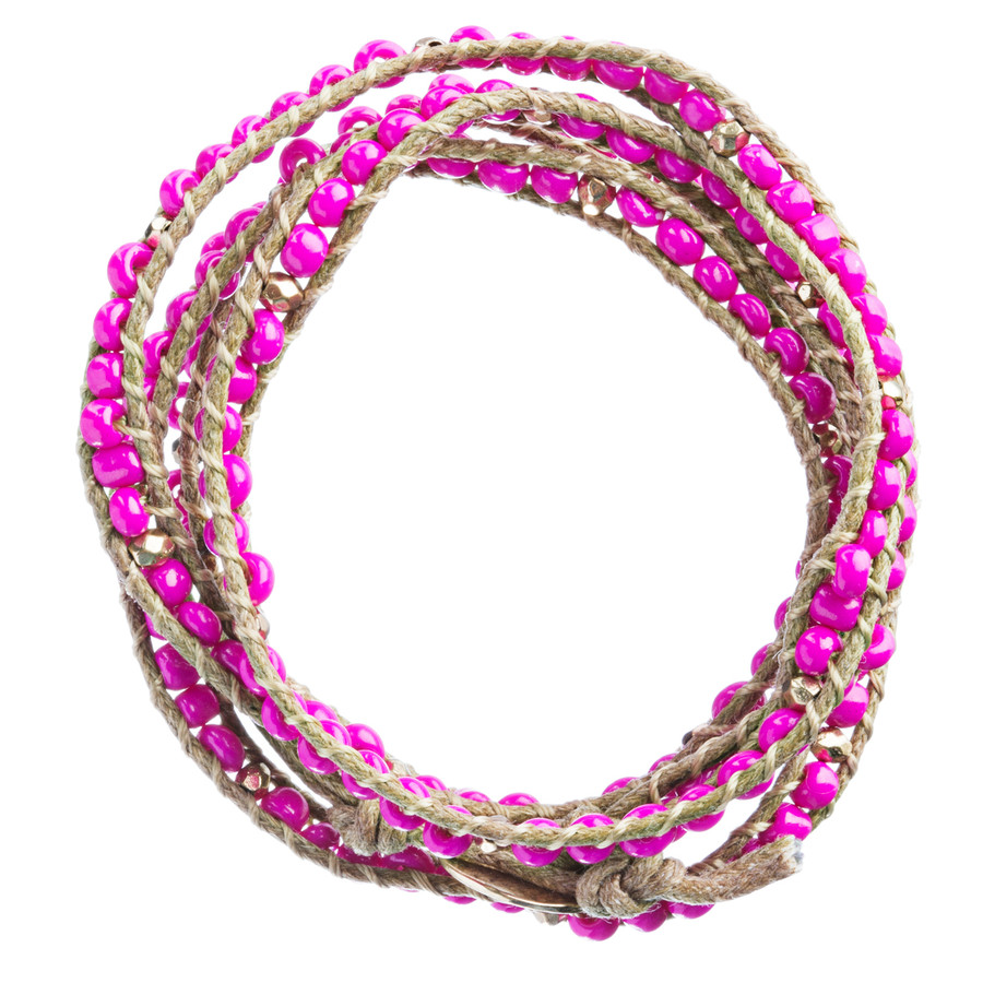 Beaded Brown String Cord with Button Knot Closure Wrap Bracelet Fuchsia Pink