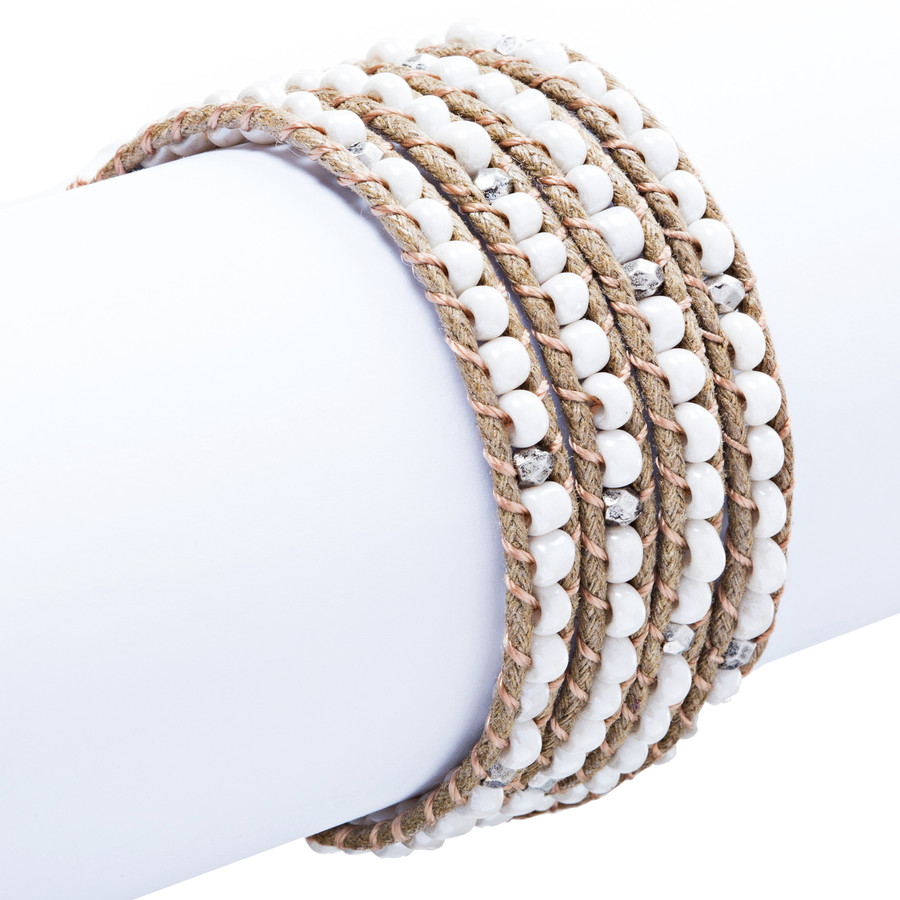 Beaded Brown String Cord with Button Knot Closure Wrap Bracelet White