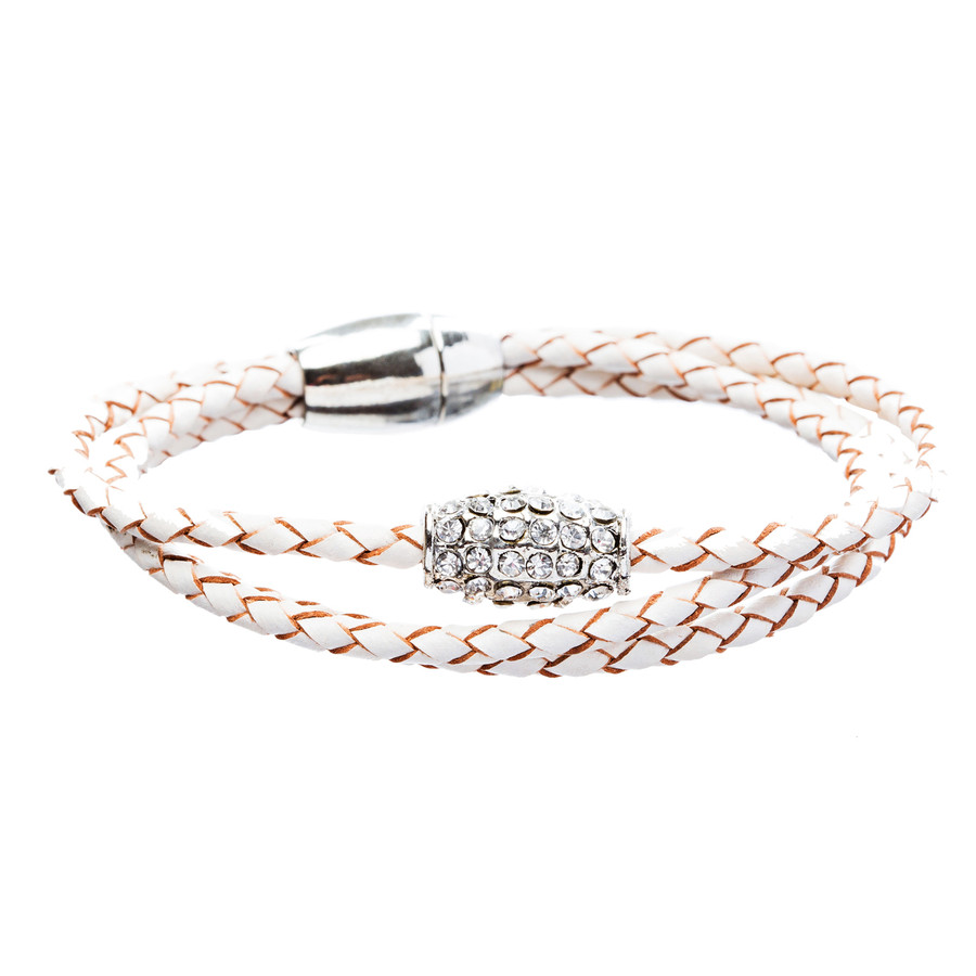 Braided Leather Pave Crystal Magnetic Closure Triple Rows Wrap Bracelet White