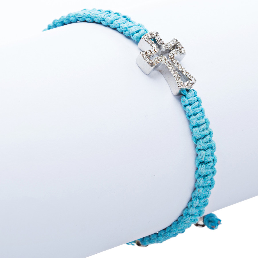 Braided Knot Pave Crystal Cross Charm Adjustable Fashion Bracelet Turquoise