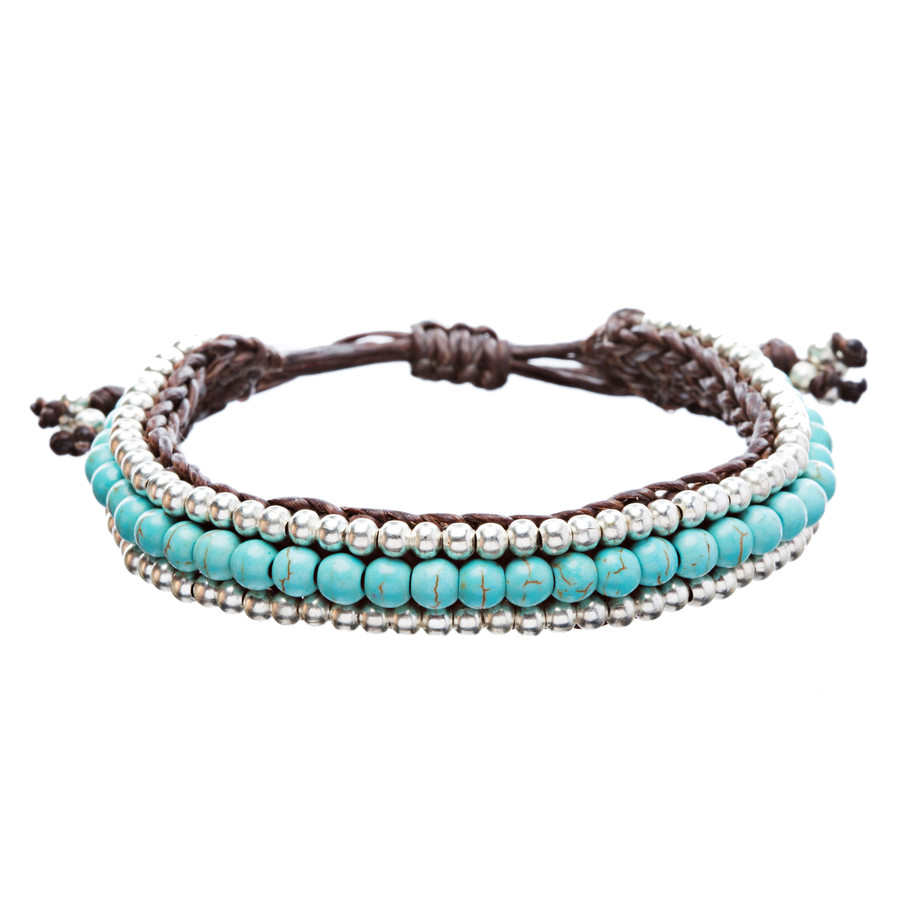 Beaded Knot Turquoise Stone Braided Adjustable Handmade Bracelet Silver Blue