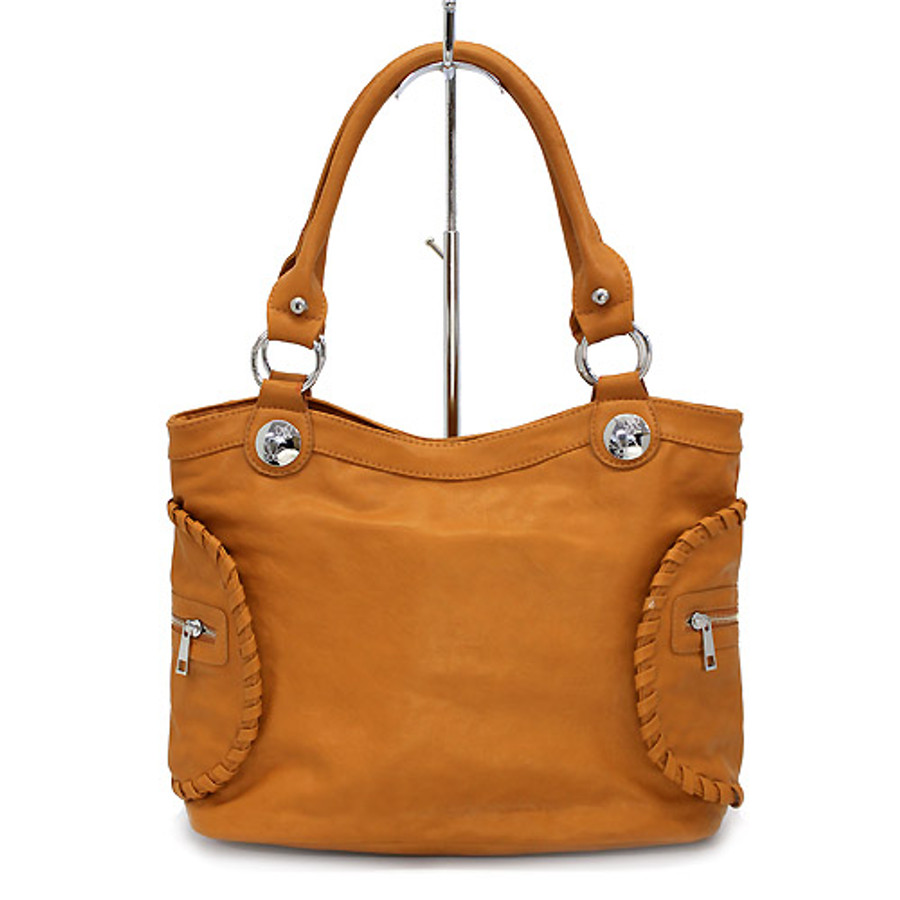 Leatherette Soft Faux Leather Fashion Satchel Shoulder Handbag Bag Brown