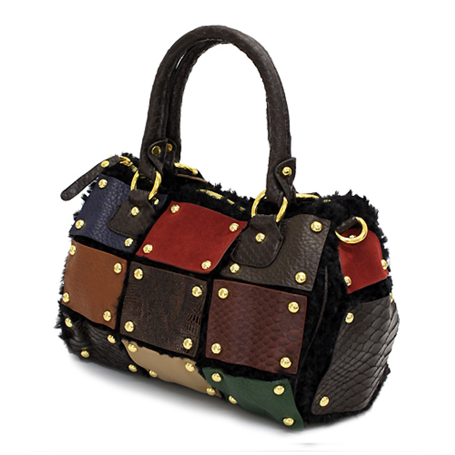 Multi Faux Leather Patchwork Patterned Faux Fur Based Satchel Handbag Bag Black
