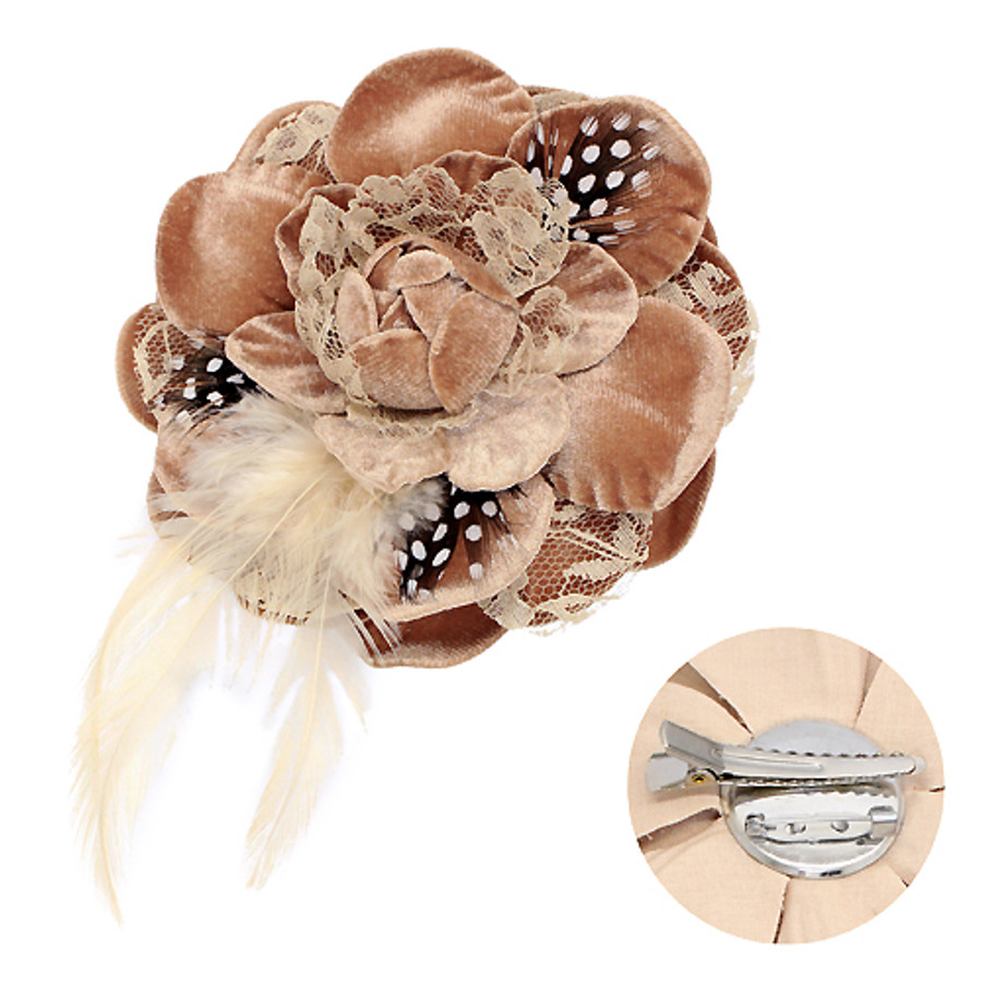 Velvet & Lace Double Layer Feather Flower Corsage Brooch 2 Way Hair Pin Beige