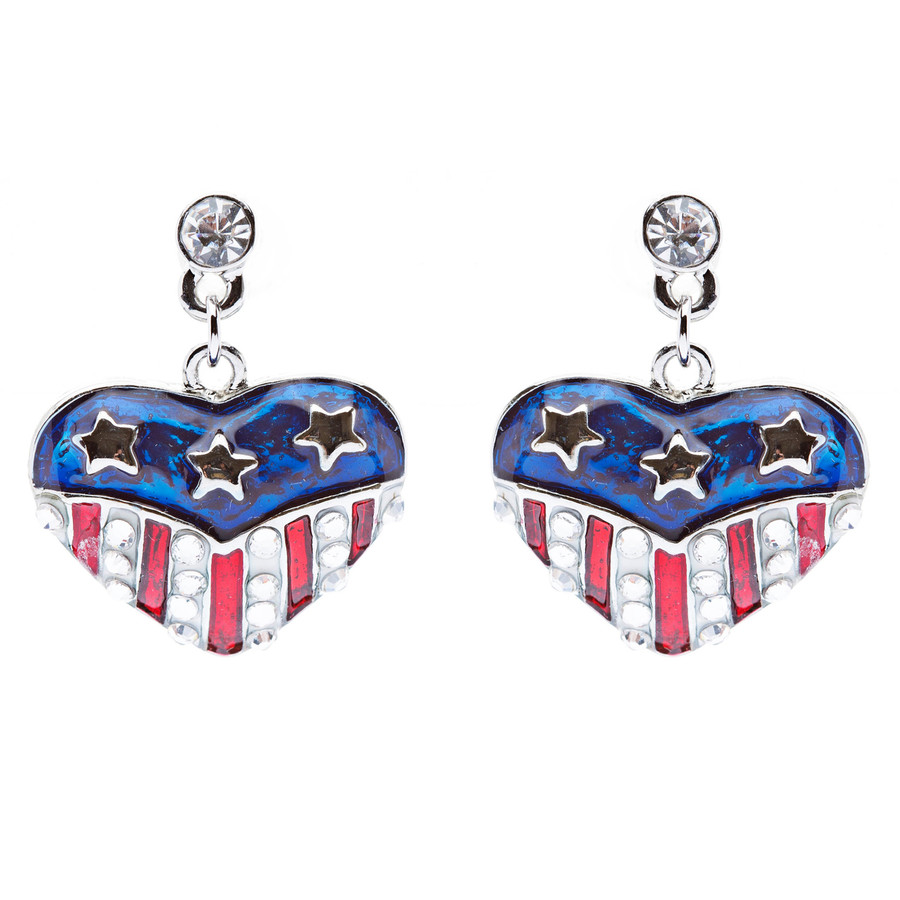 Patriotic American Flag Crystal Rhinestone Heart Charm Dangle Earrings Silver