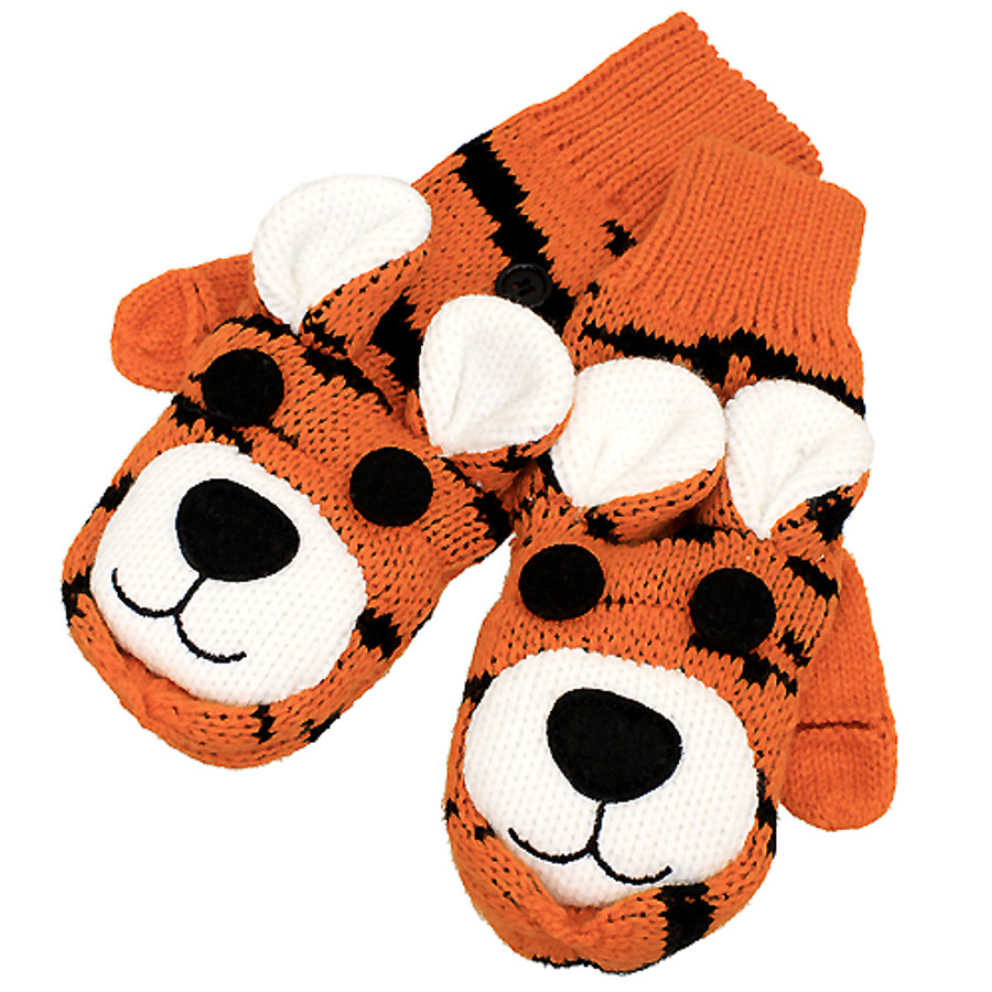 Knitted Fun 3D Animal Soft Mittens Gloves Orange Bengal