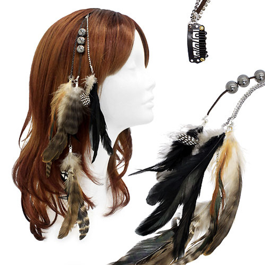 Feather Beaded Hair Extension Mini Hair Clip Comb Leather Cord Camel Black