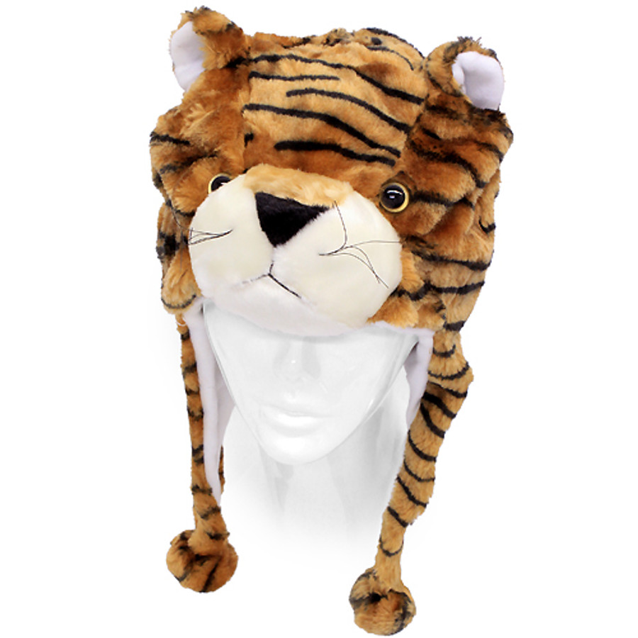 Plush Soft 3D Animal Trooper Trapper Hat Ear Flaps Fleece Liner Brown Tiger