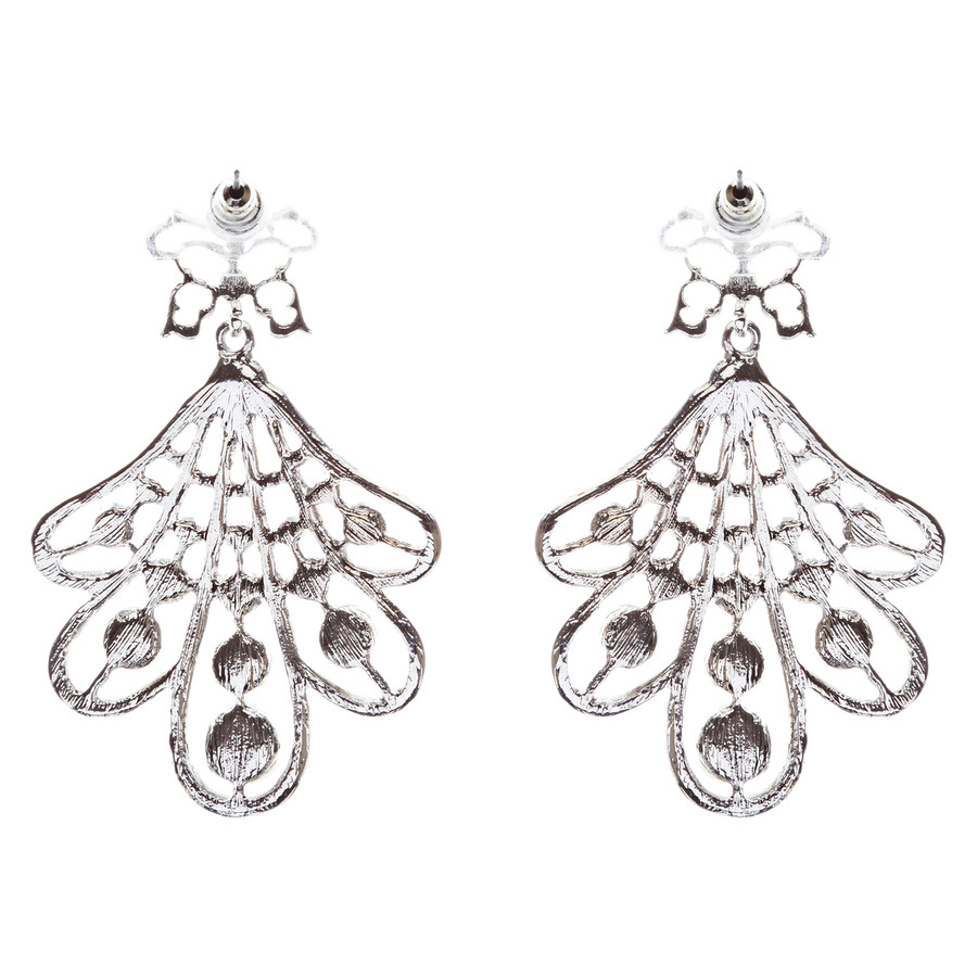 Flare Pearl Crystal Fashion Vintage Earrings Silver