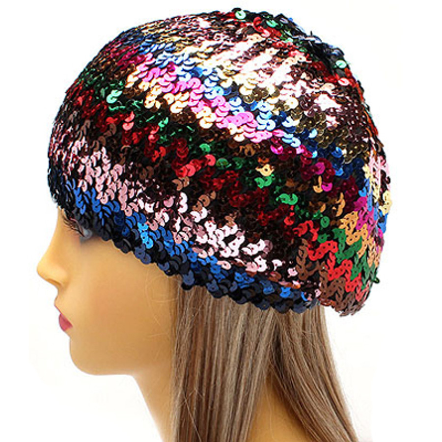 Sparkle Glitter Sequin Lightweight Fashion Beanie Hat Multi-Colored Red