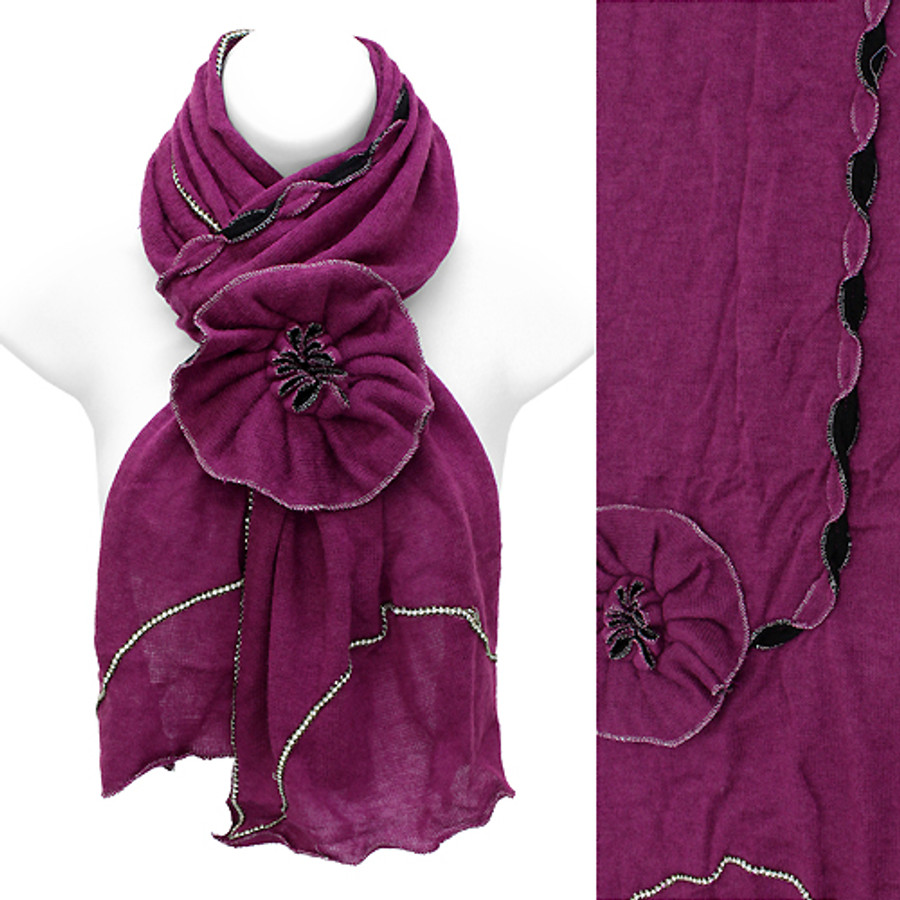 Beautiful Hand Crafted Flower Corsage Decorated Cold Weather Fashion Scarf Pink