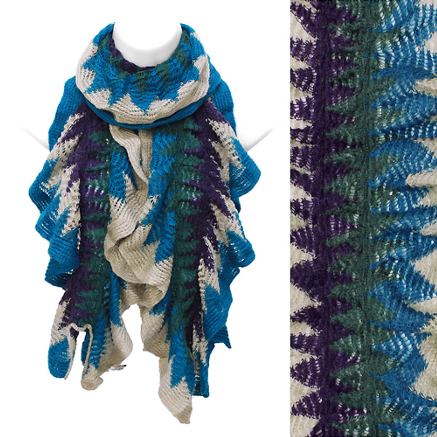 Multi Tone Ruffle Knit Cold Weather Fashion Blue Purple