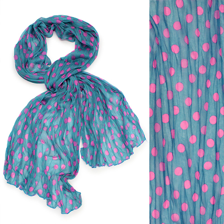 Adorable Sweet Polka Dot Pattern Lightweight Fashion Scarf Blue