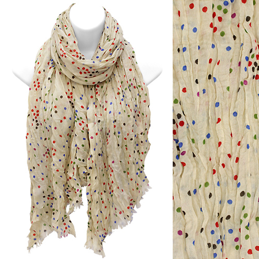 Multi Color Dot Print Wrinkle Shawl Fashion Scarf Beige