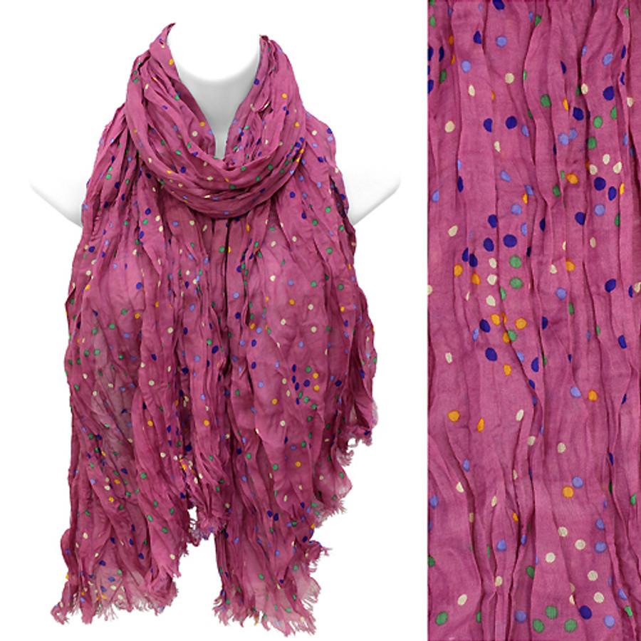 Multi Color Dot Print Wrinkle Shawl Fashion Scarf Fuchsia