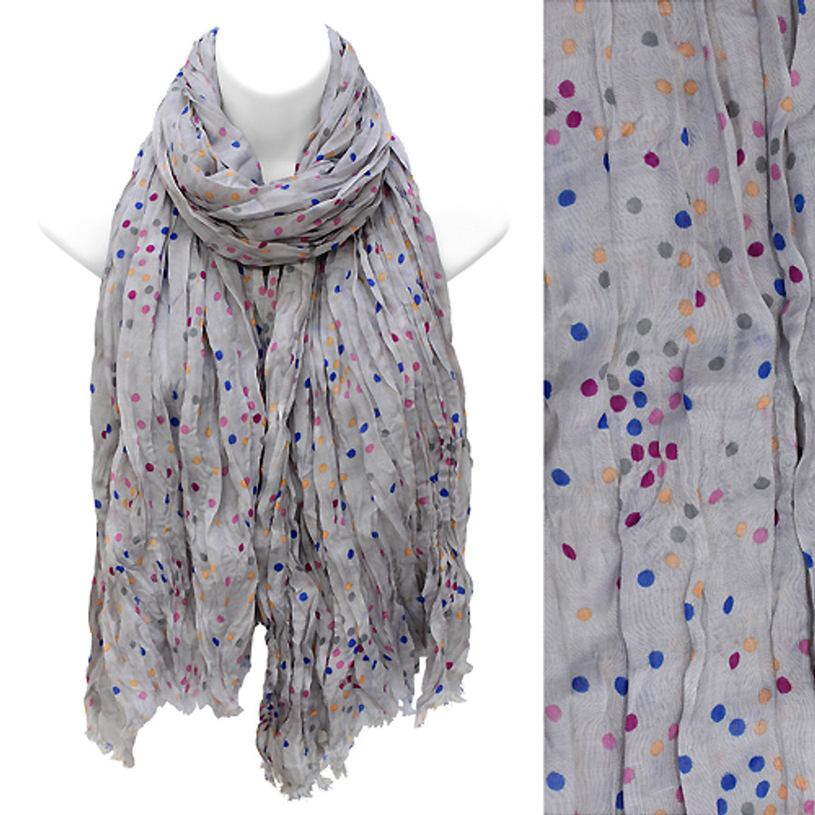 Multi Color Dot Print Wrinkle Shawl Fashion Scarf Gray
