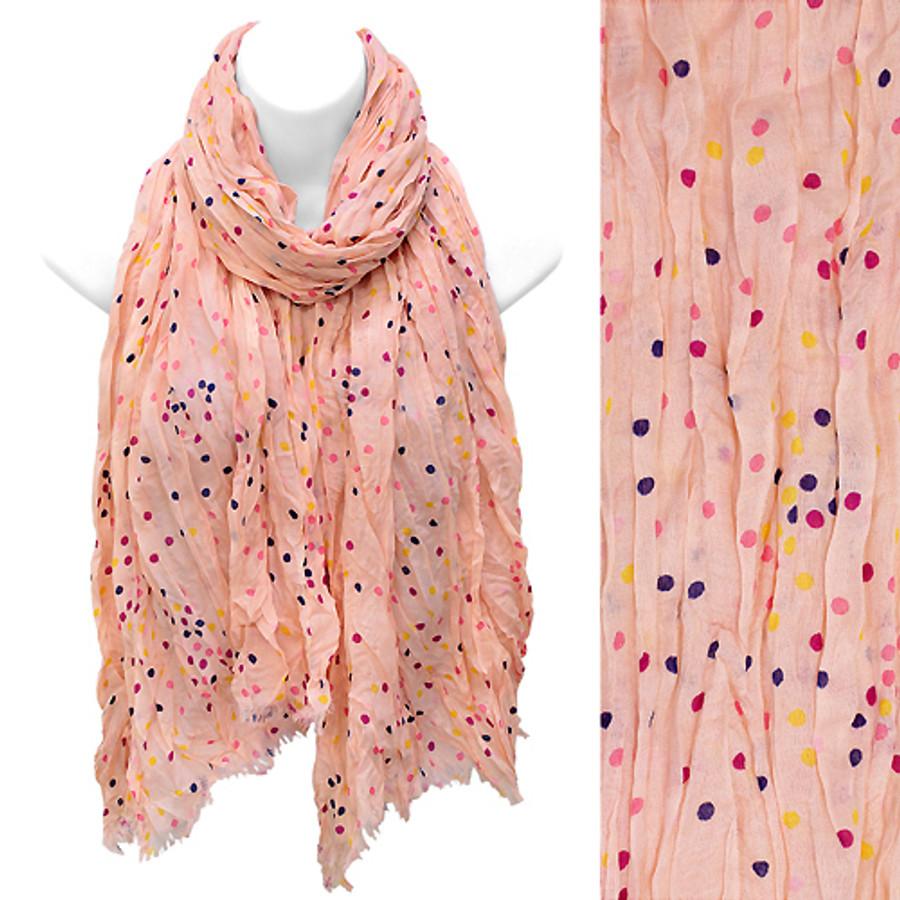 Multi Color Dot Print Wrinkle Shawl Fashion Scarf Pink