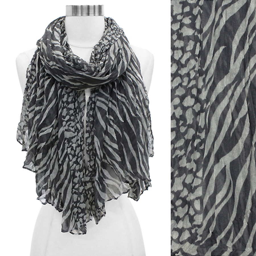 Duo Animal Print Pattern Crinkled Fashion Scarf Gray