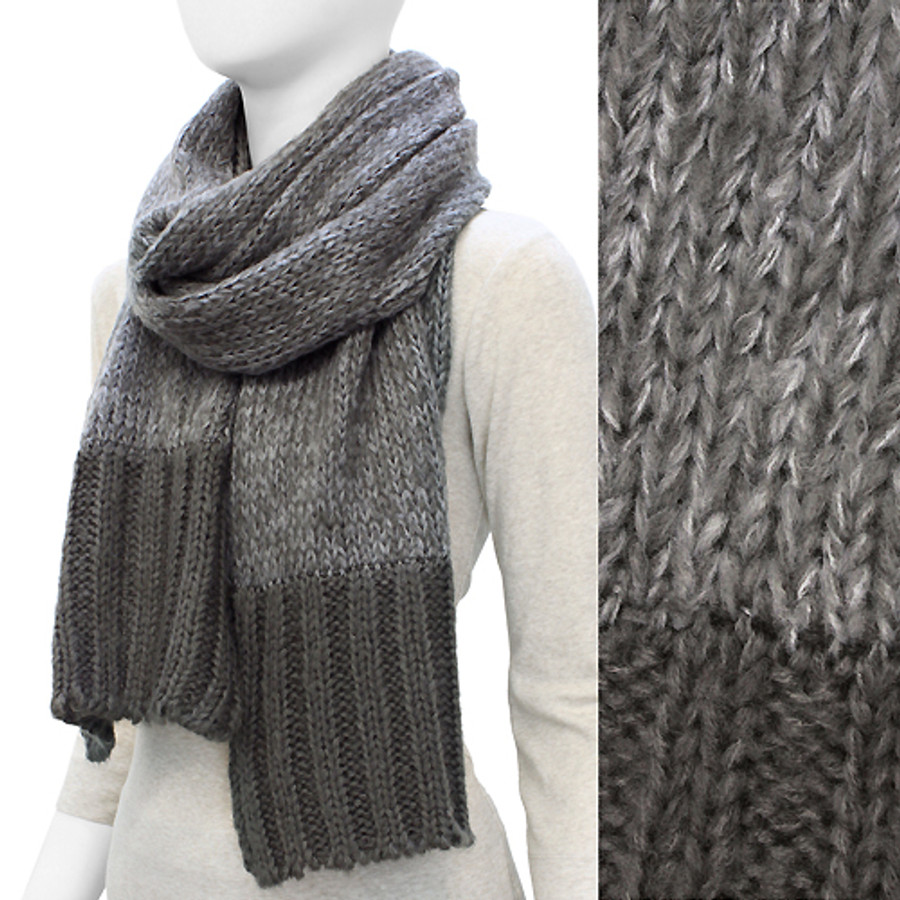 Duo Tone Simple Knitted Cold Weather Long Fashion Scarf Gray