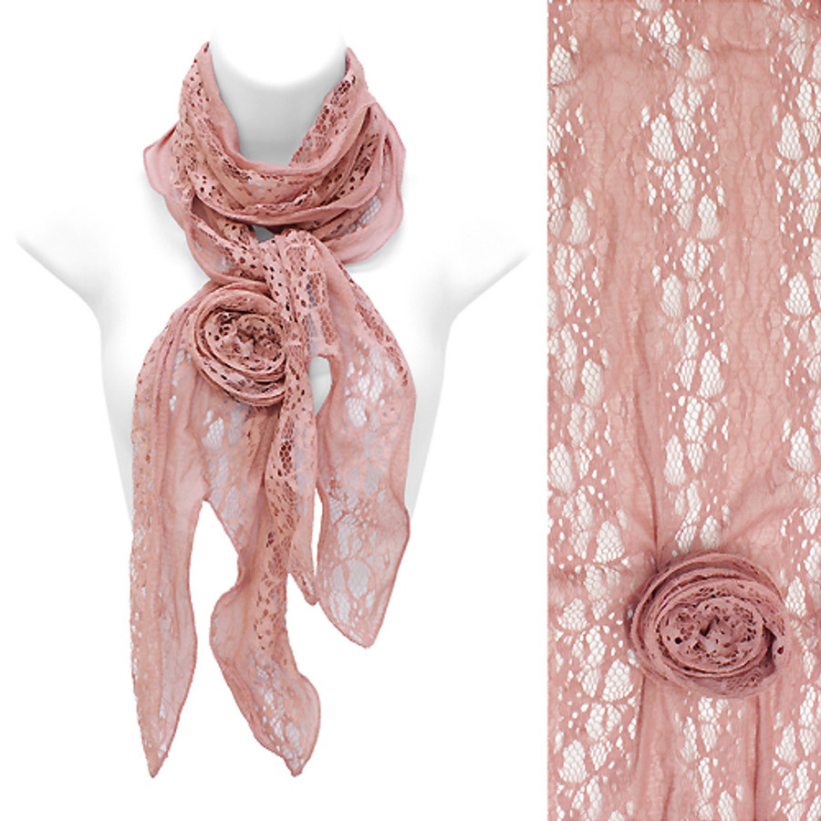 Beautiful Lace Detailed Floral Corsage Deco Lightweight Fashion Scarf Pink